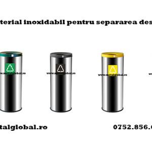 Cos de gunoi din material inoxidabil pentru separarea deseurilor